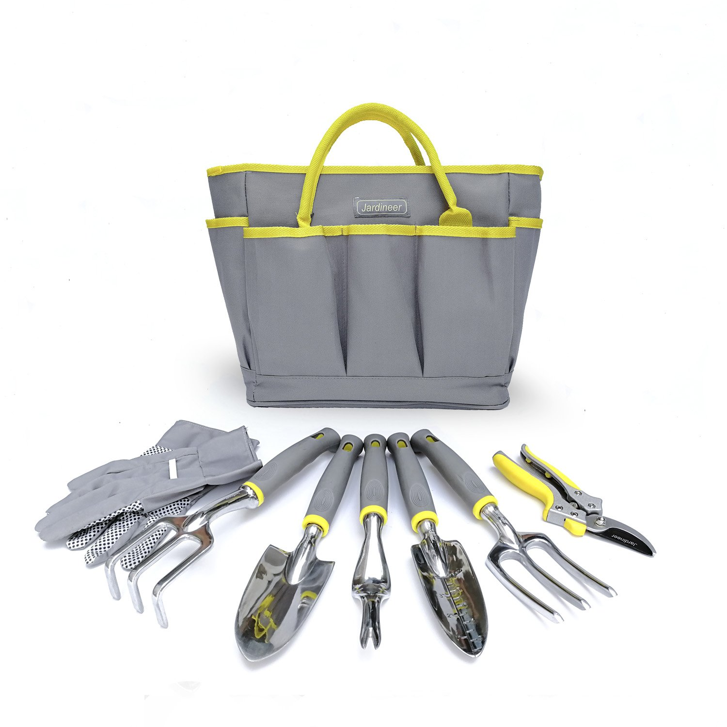 8 Piece Garden Tool Sets, Heavy Duty Gardening Tools with Gardening Gloves, Tool Bag and Pruning Secateurs, Gardener Gifts Jardineer