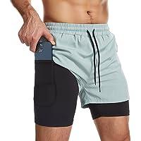 Danfiki Running Shorts Mannen met Telefoon Pocket 2 in 1 Gym Training Shorts Lichtgewicht Sneldrogend
