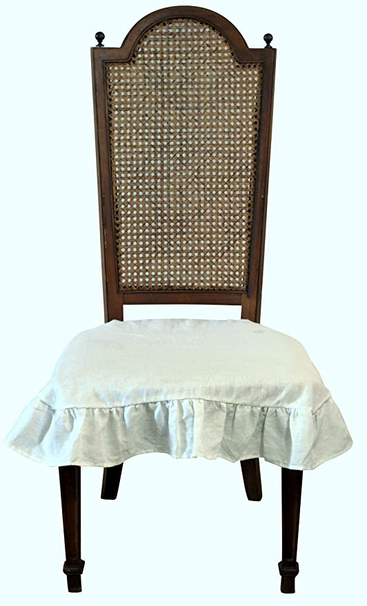 Slipcovers Linen Dining Room Chair Seat Cover Slipcover 3 Sided Ruffle Off White Large Candiidonline Com