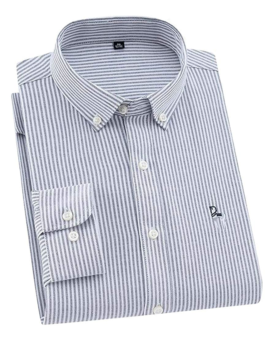 Cromoncent Men Casual Classic Fit Long Sleeve Oxford Stripe Button Up Shirts