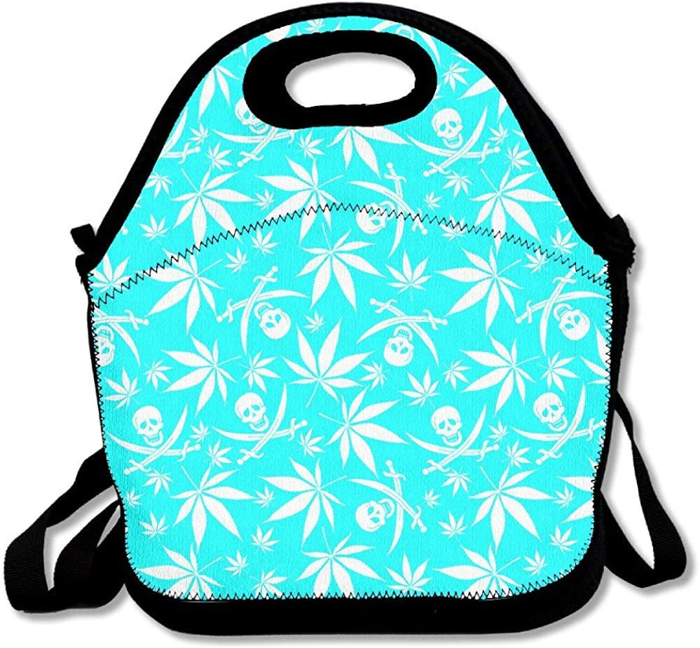 Caja de Térmicas,Cannabis Weed Skull Pattern Handy Zipper Portable Fiambrera Lunch Tote Lunch Bolsas Tote Lunch