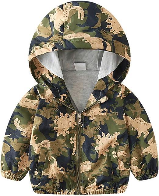 Kid Baby Boy Dinosaur Camouflage Hooded Windbreaker Tops Coat Jacket 4Y Cool
