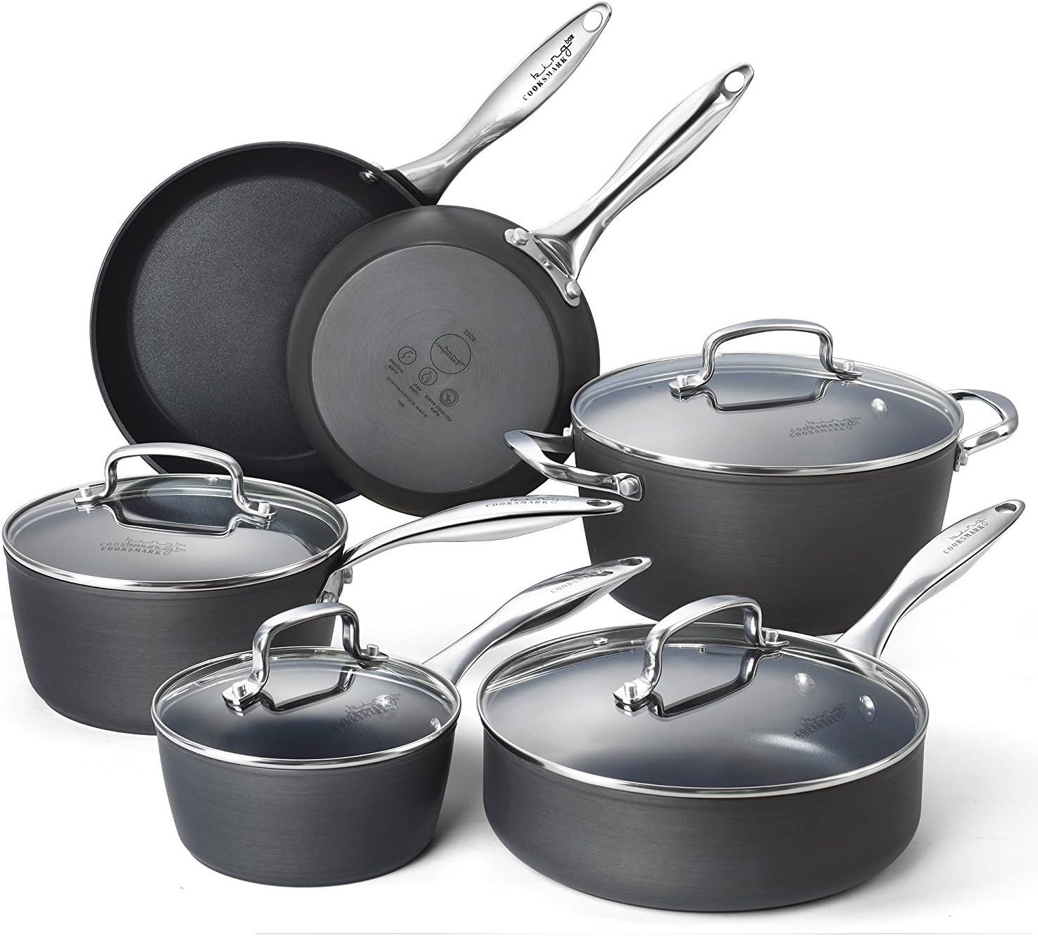 Cooksmark Kingbox 10-Piece Hard-Anodized Dishwasher Safe Nonstick Black Aluminum Cookware Set, Oven Safe,IH Safe
