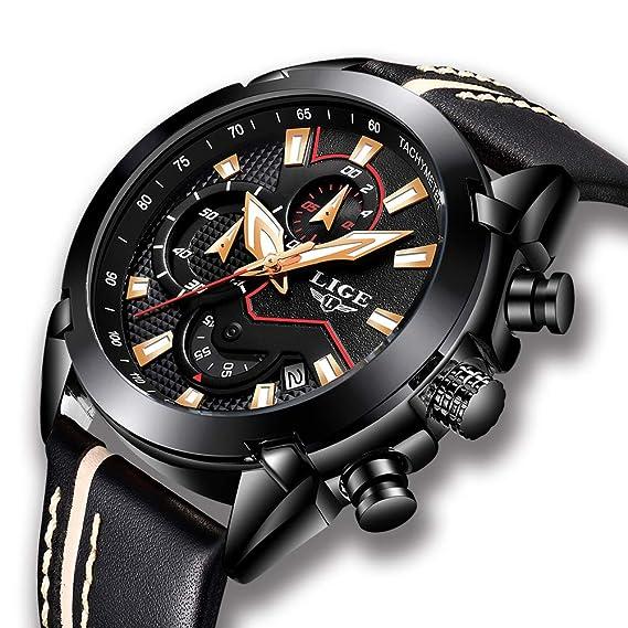 9f2d9e77aed393 Orologio da uomo, orologio sportivo analogico impermeabile al quarzo,  cronografo militare da uomo di marca LIGE di lusso, moda orologio da data  in pelle ...