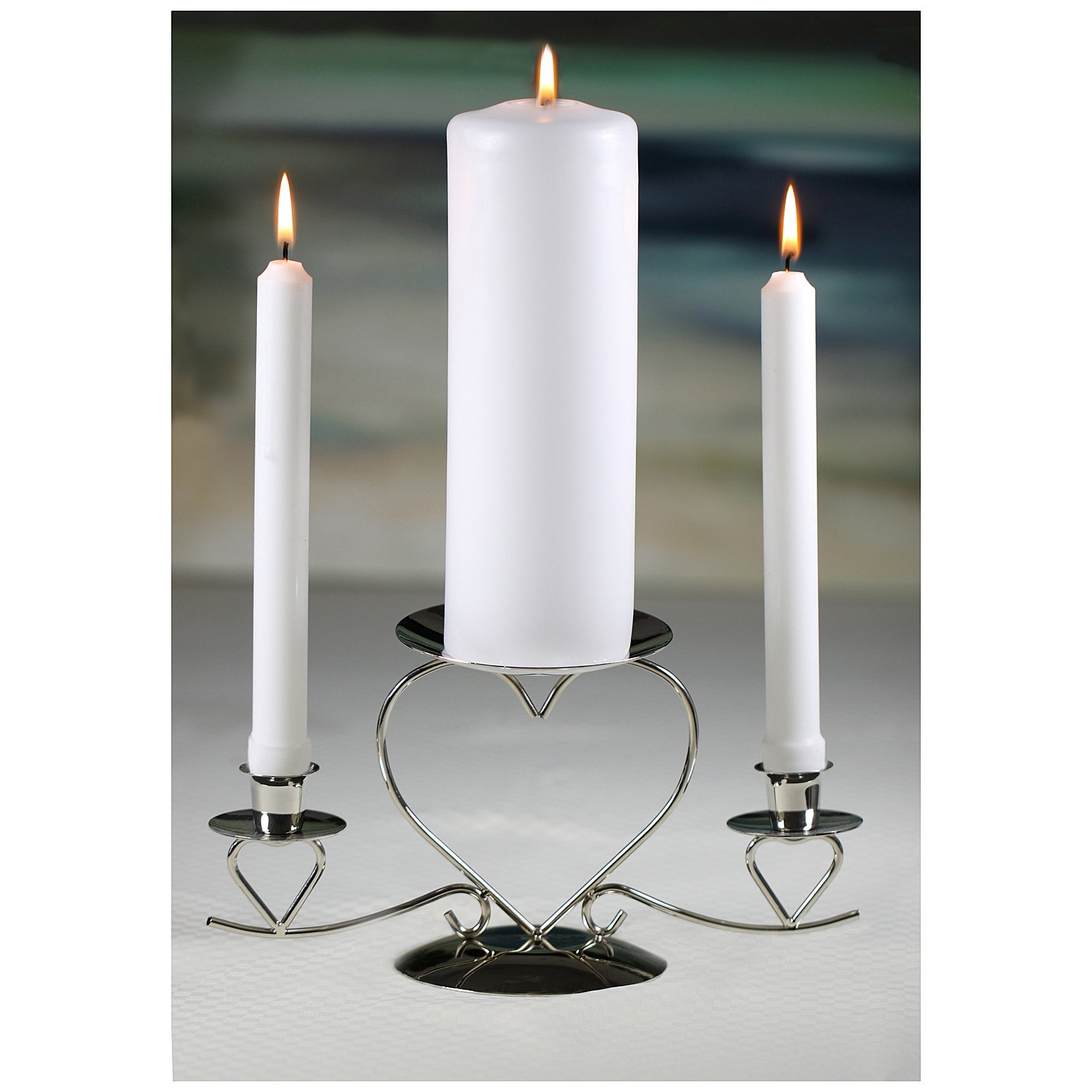 Wedding Accessories Unity Candle Stand Triple Heart Silver 105