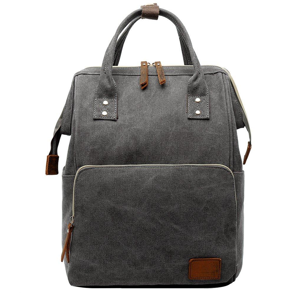 Retro Canvas Laptop Backpack Travel Rucksack School Bookbag For Men Women Gray
