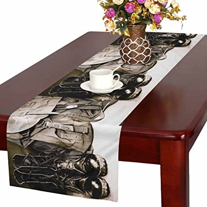 InterestPrint Cool Black Leather Army Boots And Army Bag Soldier Table  Runner Cotton Linen Cloth Placemat