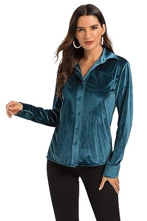 c5647c9cb Escalier Women's Simple Velvet Blouse Boyfriend Long Sleeve Button Down  Shirt Green S