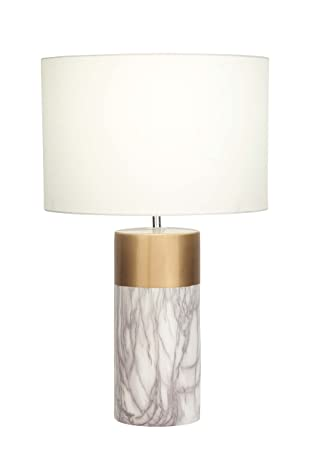 Deco 79 60739 Gold Ceramic Table Lamp With White Shade, White/Gold/Gray