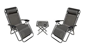 3 pcs set deluxe 2pack zero gravity chairs u0026 folding table w cup - Zero Gravity Chair