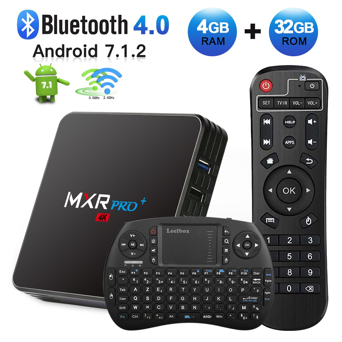 Android TV Box, HAOSIHD MXR Pro Plus Android 7.1 TV Box with Remote Control & Mini Keyboard, 4GB RAM 32GB ROM RK3328 Quad-core, Support 4K Full HD Dual-Band Wi-Fi 2.4/5Ghz BT 4.0 Smart TV Box by HAOSIHD