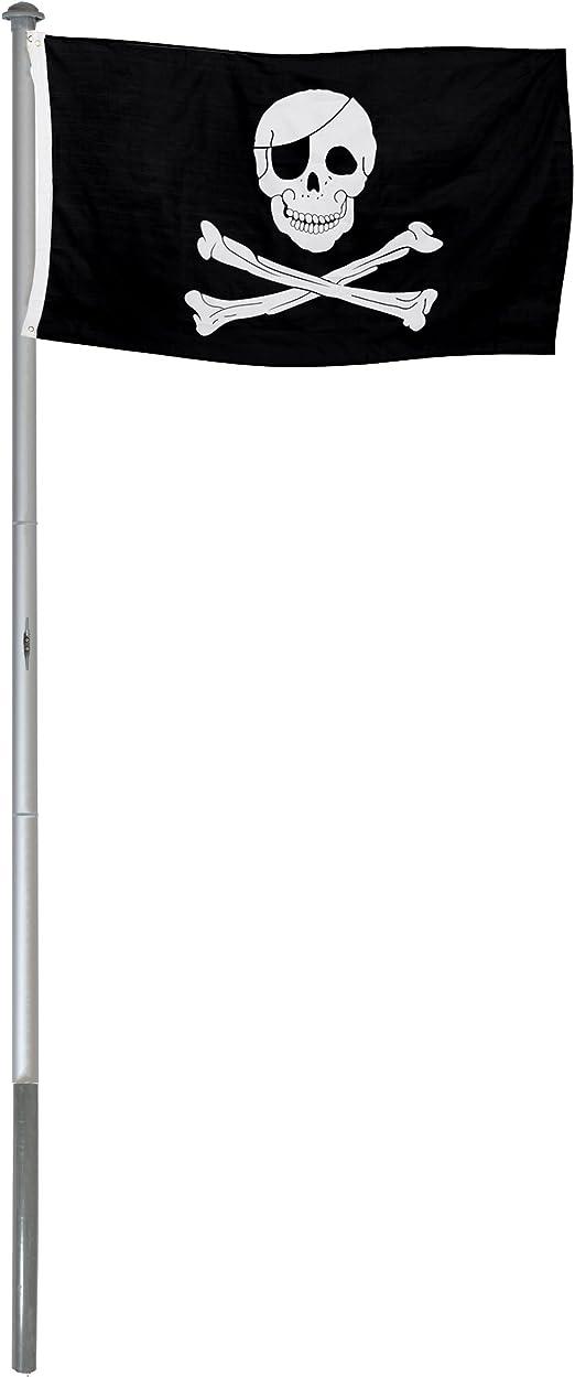 BRUBAKER Mástil Aluminio Exterior 6 m Incluye Bandera de Pirata 150 x 90 cm y Soporte de Tierra: Amazon.es: Jardín
