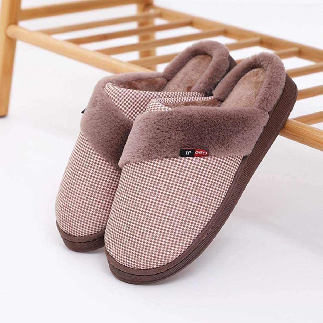 Slippers for Women Striped Warm Memory Foam Slip on Flock Warm House Shoes Mens Cotton Comfortable Bedroom Shoes Red