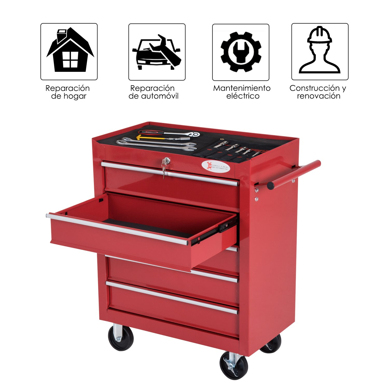 DURHAND Caja Taller Carro de Herramientas con Ruedas Cerradura tipo Mueble de Almacenamiento para Taller Garaje y Hogar Chapa de Acero 69x33x77.2cm Rojo: ...