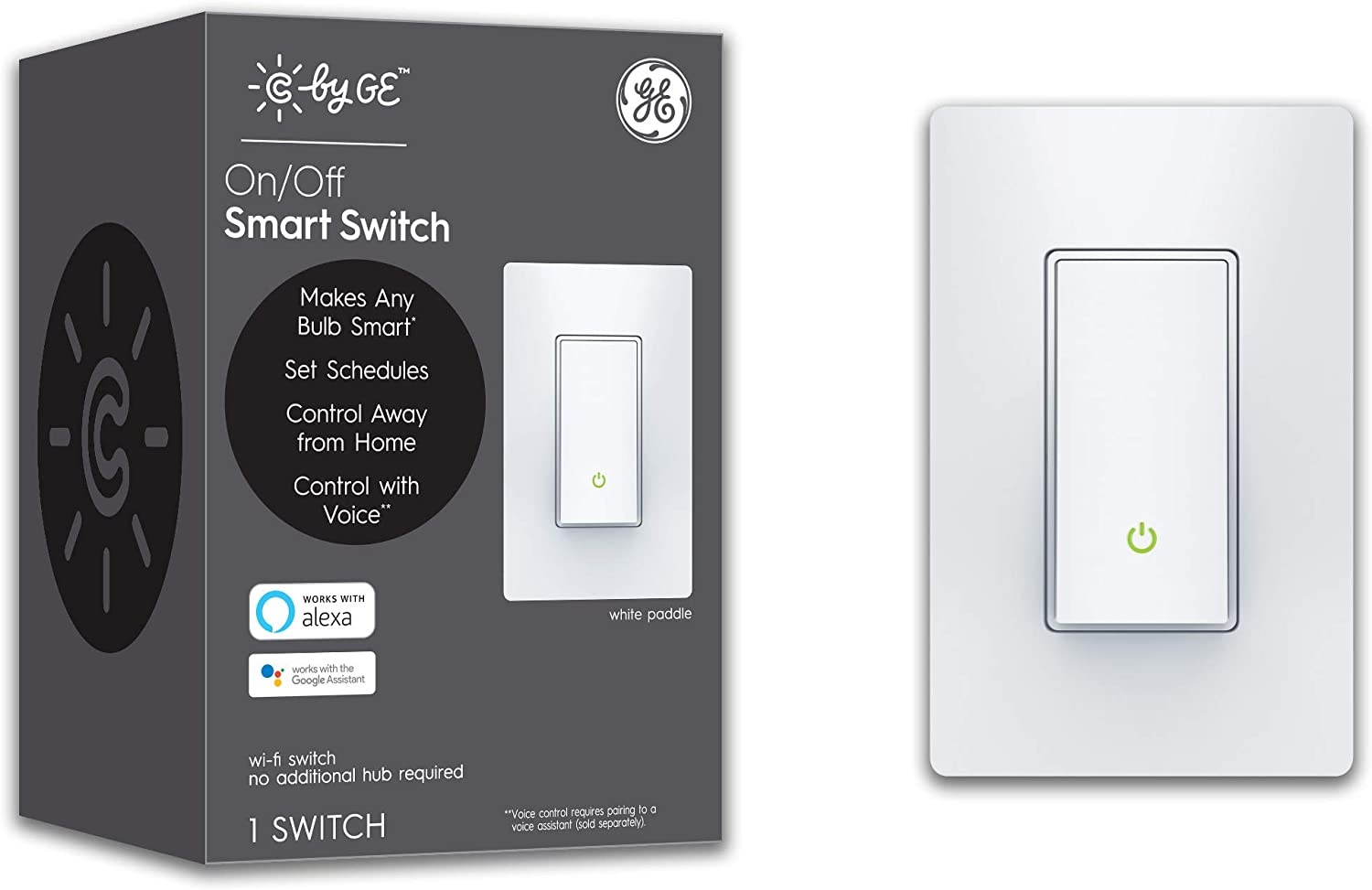 C by GE On/Off 4-Wire Paddle Style Smart Switch - Works with Alexa + Google Home Without Hub, Single-Pole/3-Way Replacement, White