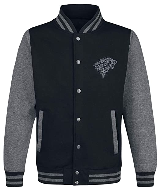 Game Of Thrones Juego de Tronos House Stark Winterfell Chaqueta Universitaria Negro/Gris: Amazon.es: Ropa y accesorios