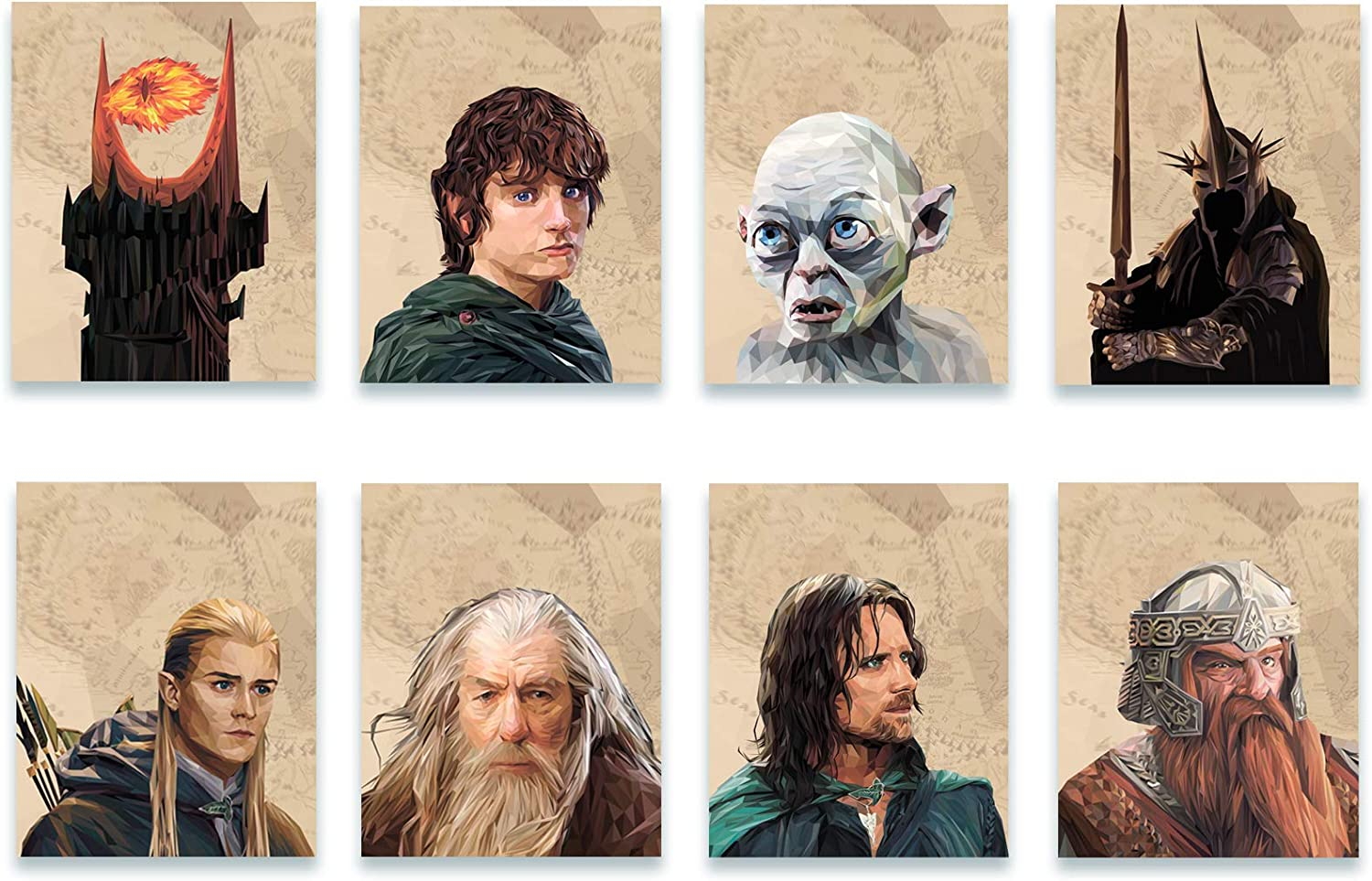 Lord of the Rings Posters - Set of 8 Wall Posters -Frodo Baggins - Aragorn - Legolas - Gollum - Gandalf - Sauron- Nazgul and Gimli - Polygonal Style - Bedroom Decor - Party Supplies (Polygonal, 8x10)