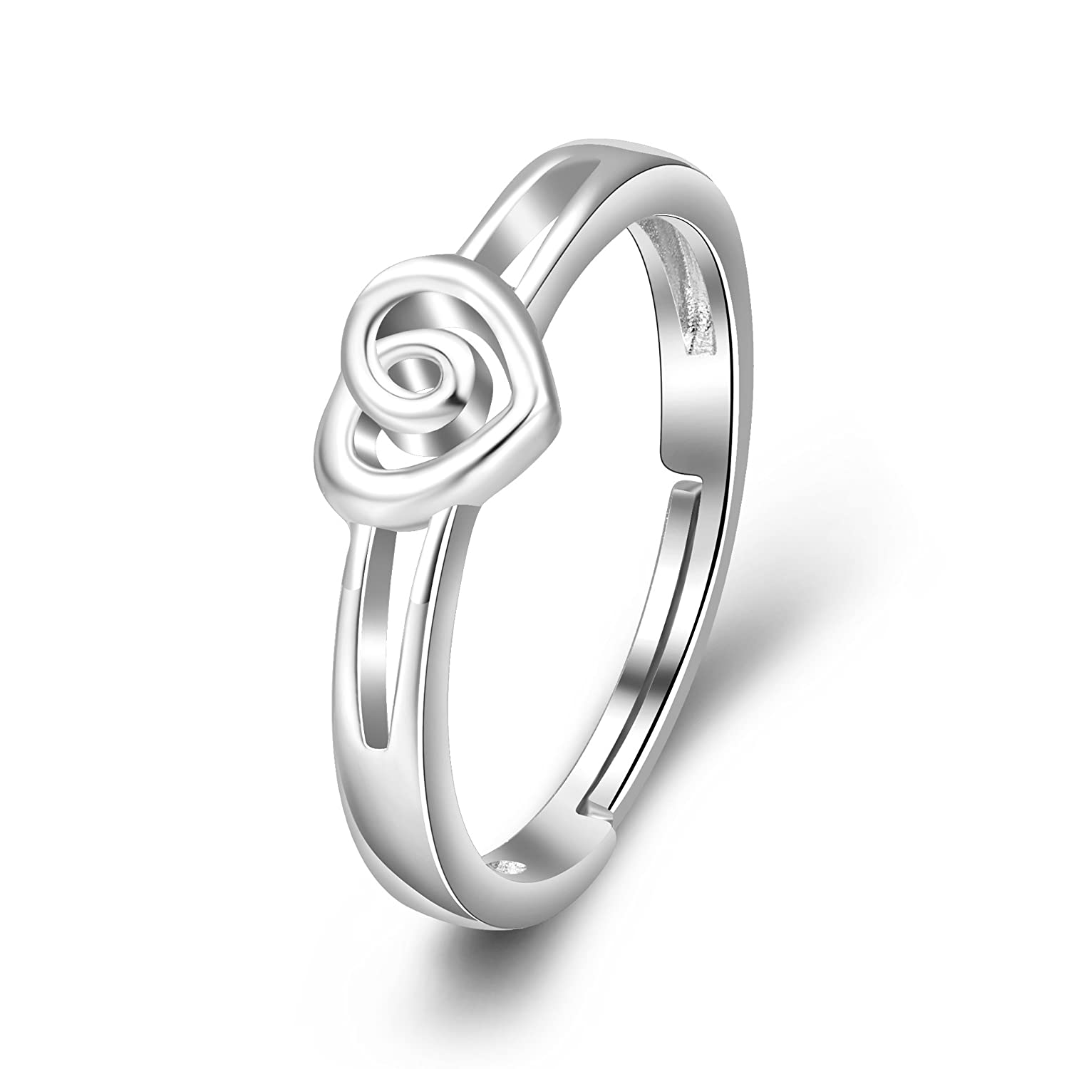 AXELUNA 925 Sterling Silver Heart Promise Love Knot Ring Adjustable Jewelry for Women Girls Size 6 7 8