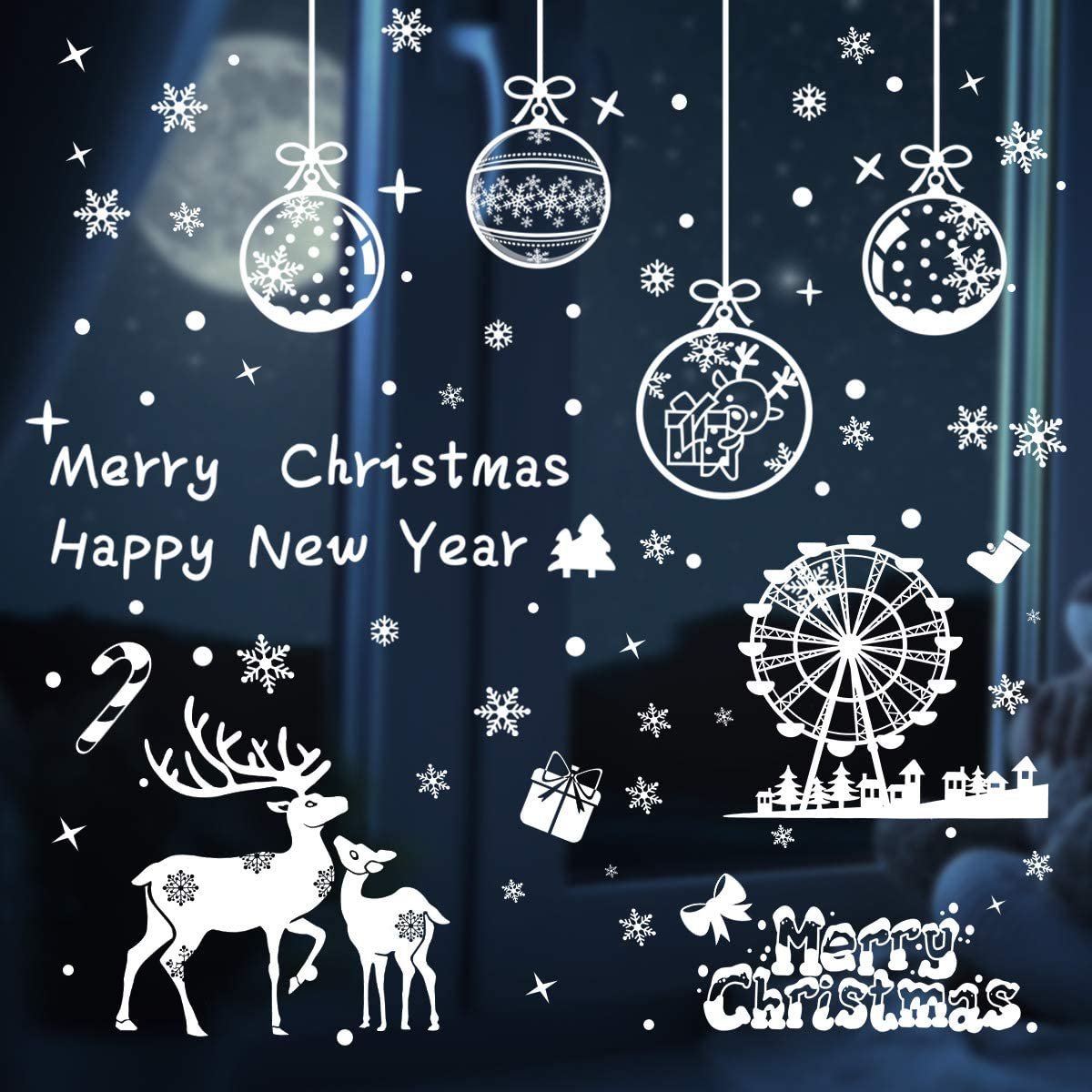 Christmas Window Clings Decorations White Snowflake Decals Window Stickers Reusable Xmas Holiday Merry Christmas Decor 210PCS