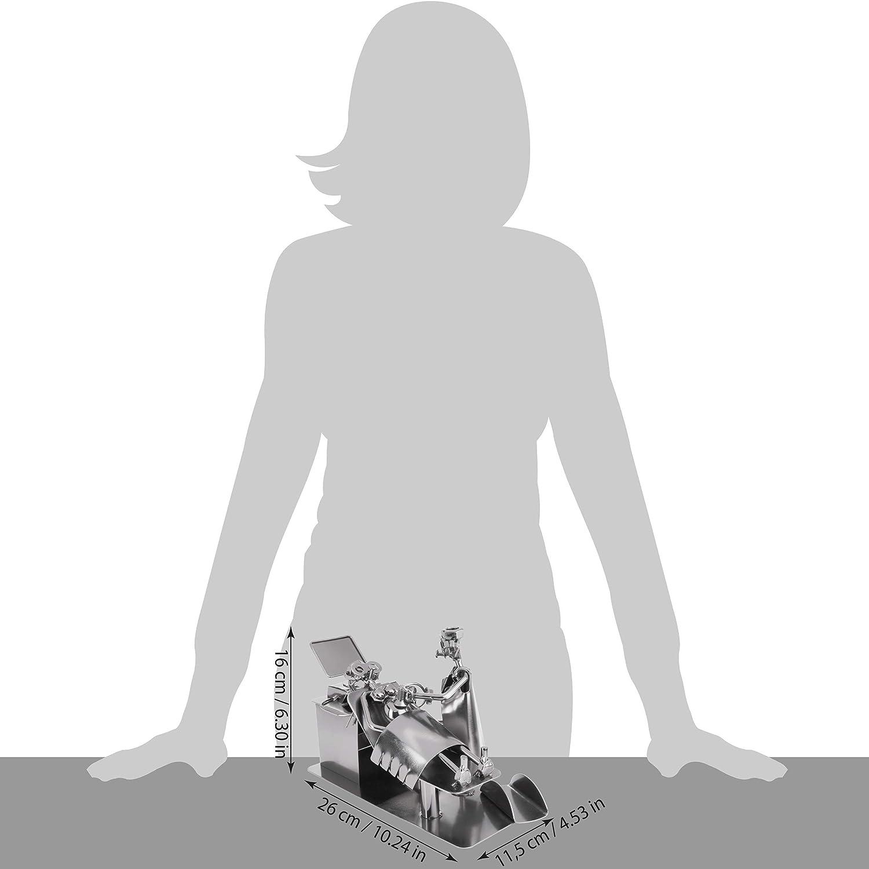 BRUBAKER Vis Homme Gyn/écologue Interniste Enceinte /à L/échographie Cadeau pour Femmes Enceintes et Gyn/écologues Figure en Fer Fait Main Homme en M/étal avec Porte Carte de Visite