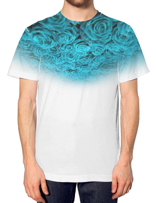 Light Blue Rose All Over T Shirt Floral Bright Summer Holiday Vintage Flower Top