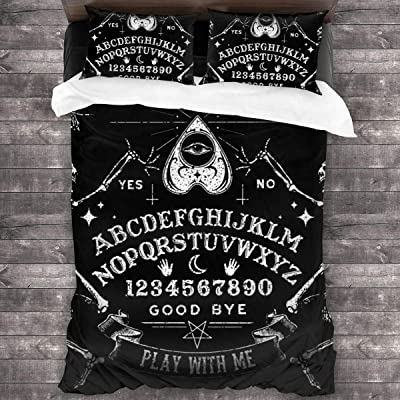 Vintage Magic Ouija Board 3D Quilt Reversible Bedding Sets Comforter Bedspread Set Queen Size 3 Piece Duvet Cover Set with 2 Pillow Cases for Men Women Kids: Home & Kitchen