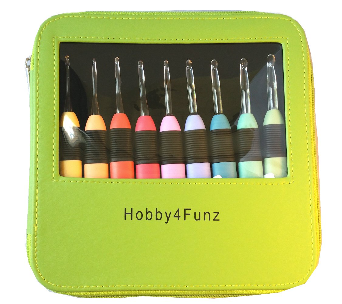Hobby4Funz Multicolor LED Light Knitting Crochet Hooks Complete Set 9 Sizes C-K with Carry Case