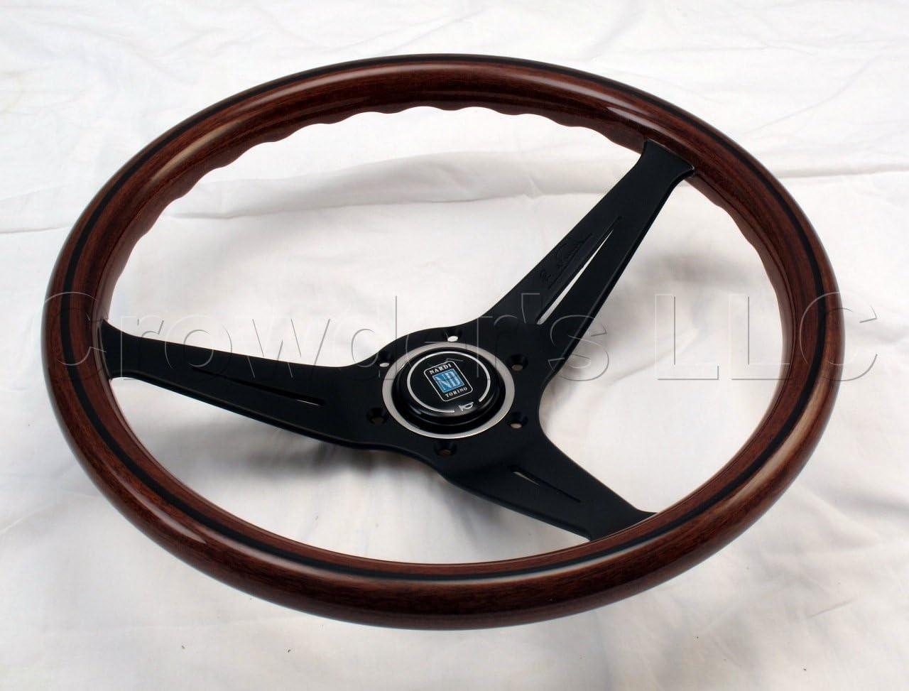 NARDI Steering Wheel Deep Dish Corn 350 mm Mahogany Wood with Black Spokes Classic Horn Button