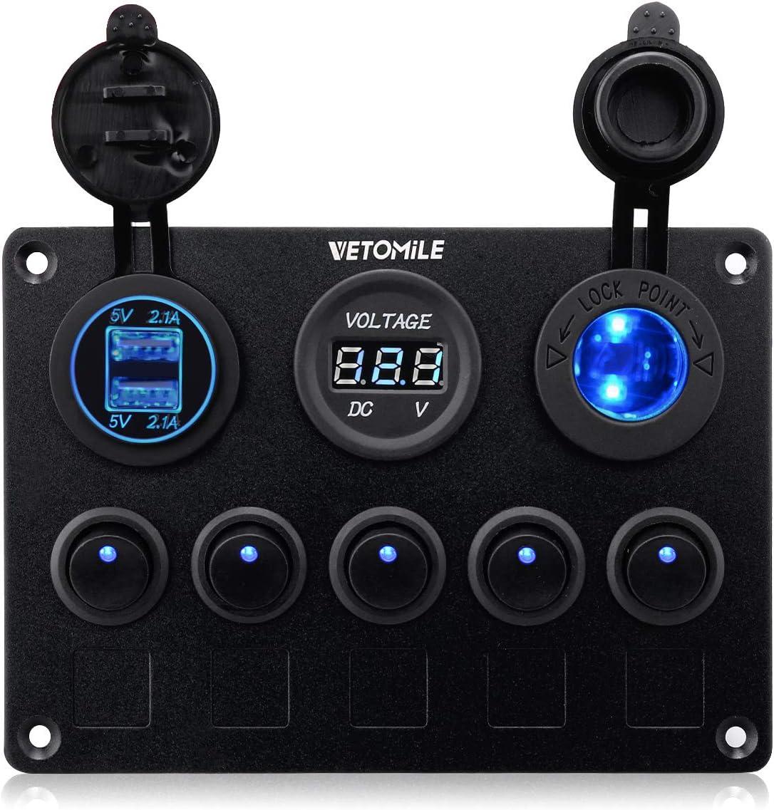 VETOMILE Boat Marin Rocker Switch Panel Waterproof 3 Pin 5 Gang Marine Fuse Digital Voltage Display Dual 5V/2.1A USB Charger Cigarette Lighter Socket 12V-24V for Car Truck: Automotive