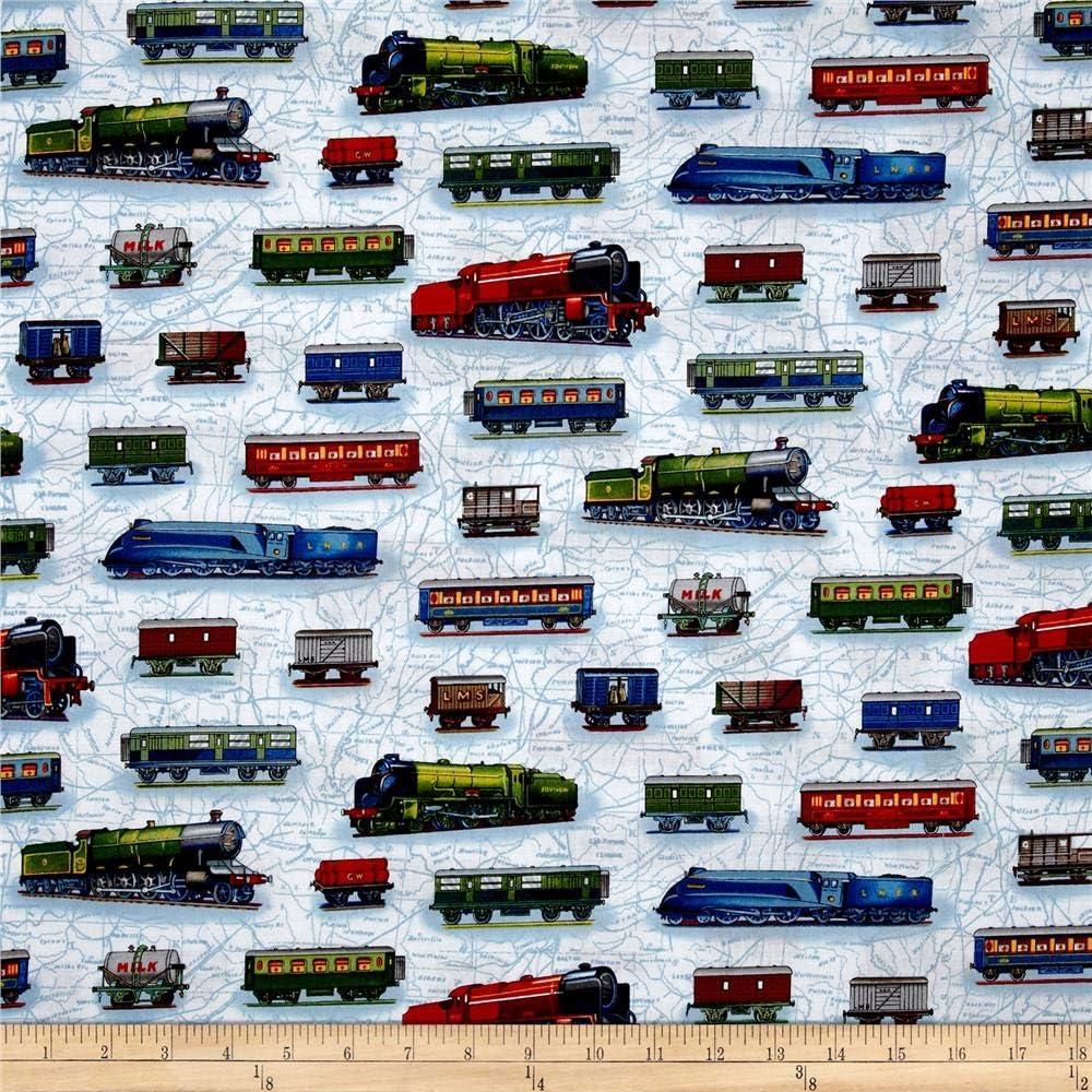 Timeless Treasures YARD Kids Fabric Train Locomotives /& Railroad Signs Brown