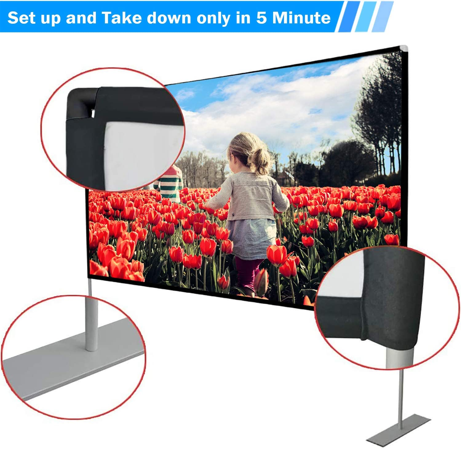 JinHuiCheng Projector Screen with Stand Portable Projection Screen 16:9 for Indoor Outdoor Home Theater Backyard Cinema Trave (100inch): Home Audio & Theater