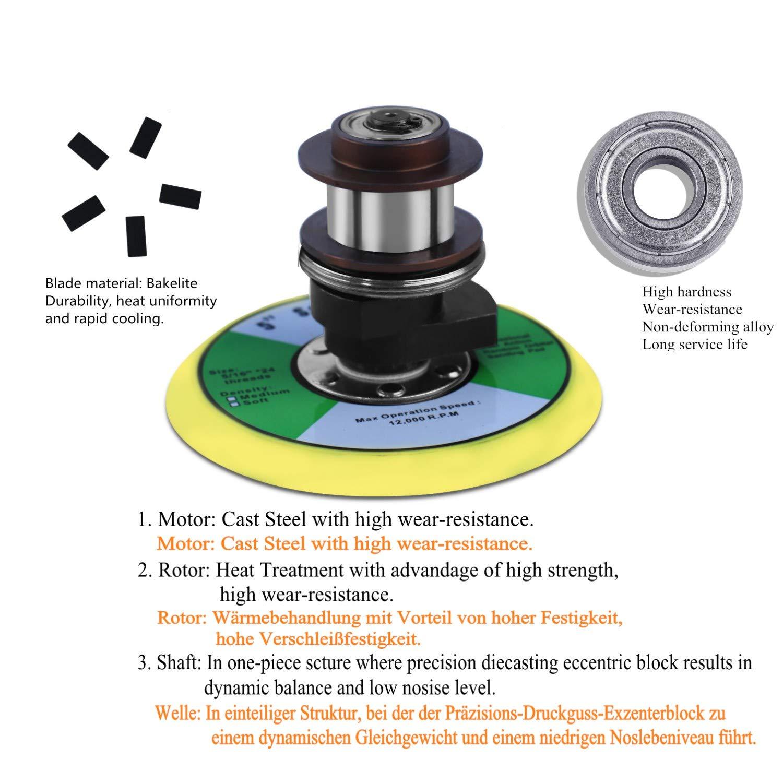 Nueva pulidora orbital pulidora pulidora aire comprimido 125 mm, velocidad de ralentí: 13000 RPM, amoladora multifuncional pequeña y potente: Amazon.es: ...