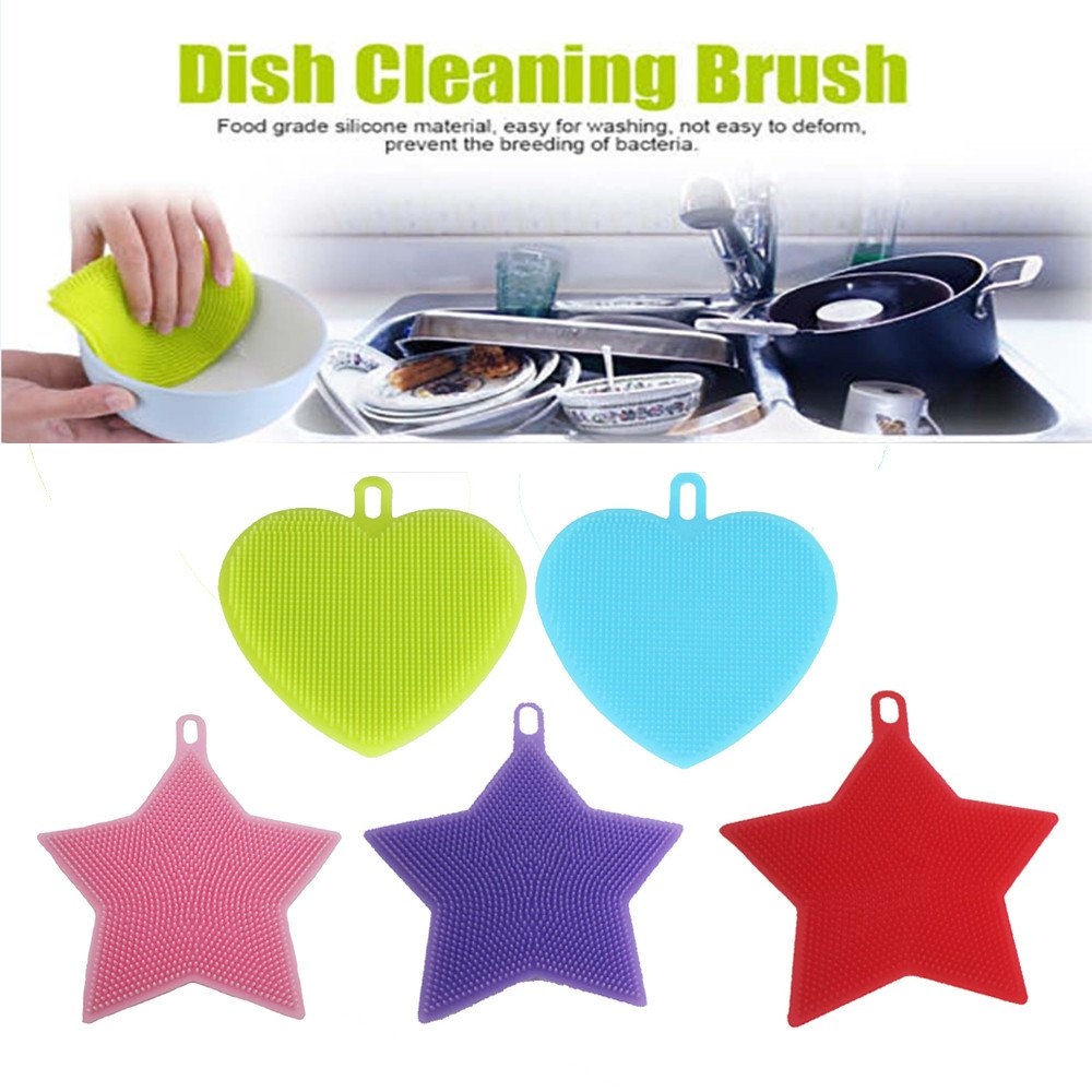 5 Pack Antibacterial Silicone Dish Washing,Multi-purpose Scrubber Mildew-Free Cleaning Dishwashing Brush
