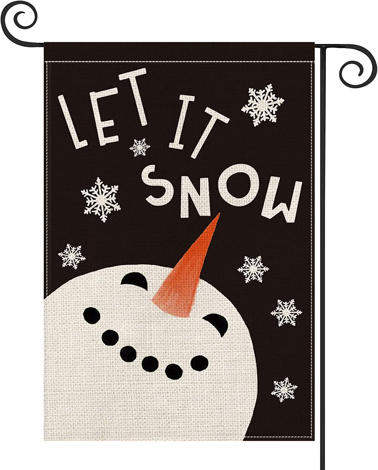 AVOIN Let It Snow Snowman Snowflake Garden Flag Vertical Double Sized, Winter Holiday Christmas Yard Outdoor Decoration 12.5 x 18 Inch