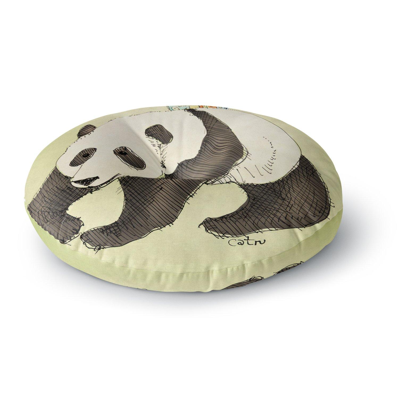 KESS InHouse Carina Povarchik Happy Panda Black Animals Round Floor Pillow, 26''
