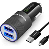 Eleckey EK0001 USB Rapid Car Charger for Samsung Galaxy S7/S7Edge, S6 / S6 Edge / Note 5 and More - Black