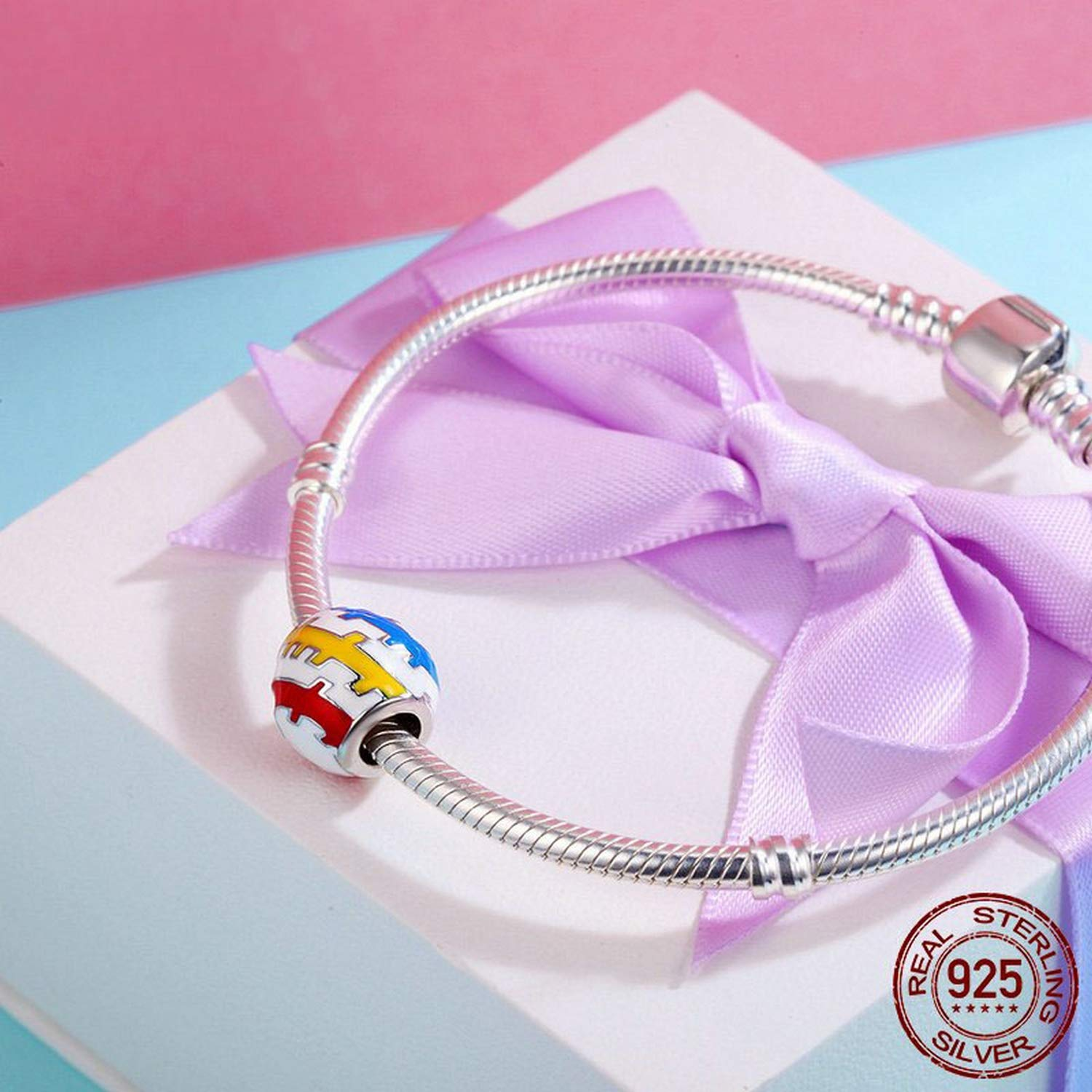 EverReena Trendy Beautiful Youth Colorful Exquisite Silver Beads Bracelets