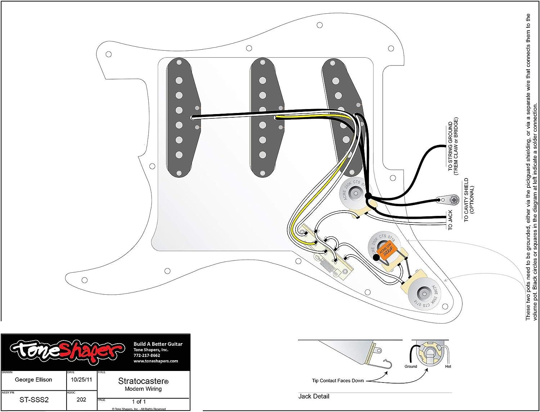 Amazon.com: ToneShaper Guitar Wiring Kit, For Fender Stratocaster, SSS2  (Modern Wiring): Musical InstrumentsAmazon.com