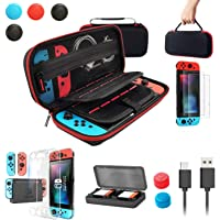 Nintendo Switch Case with Switch Accessory Set [Storage Case + Ultra-Thin Body Cover + 2 Tempered Glass Film + Joy-Con…