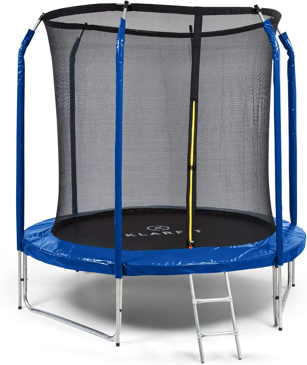 Klarfit Jumpstarter - Cama elástica, Superficie de salto de 1,95 m, Certificado Intertek, Red de seguridad interior, Carga máx. 120 kg, 3 patas dobles, Escalera de acero galvanizado, Acolchado