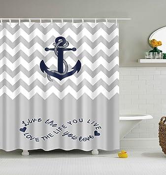 Badezimmer deko grau  lgson Nautisches Wasserdicht Duschvorhang, Polyester Stoff ...