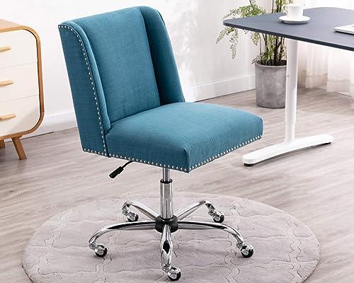 CIMOTA Modern Office Desk Chair Armless Fabric Task Chair Comfy Rolling Vanity Chair