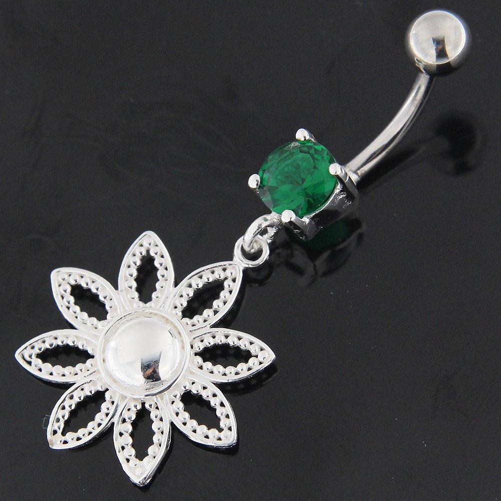 Plain Dotted Flower Dangling 925 Sterling Silver with Stainless Steel Belly Button Ring