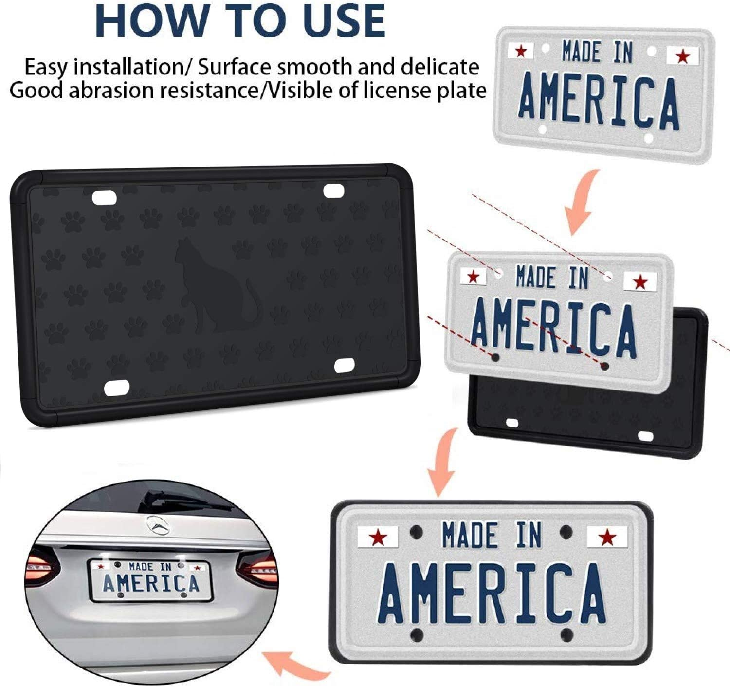 Weather /& Rattle-Proof Silicone License Plate Frame with Installation Screws and 9 Drainage Holes Mookis License Plate Frame Water-Proof 2 PCS Black Auto License Plate Holder Rust-Proof Type 1