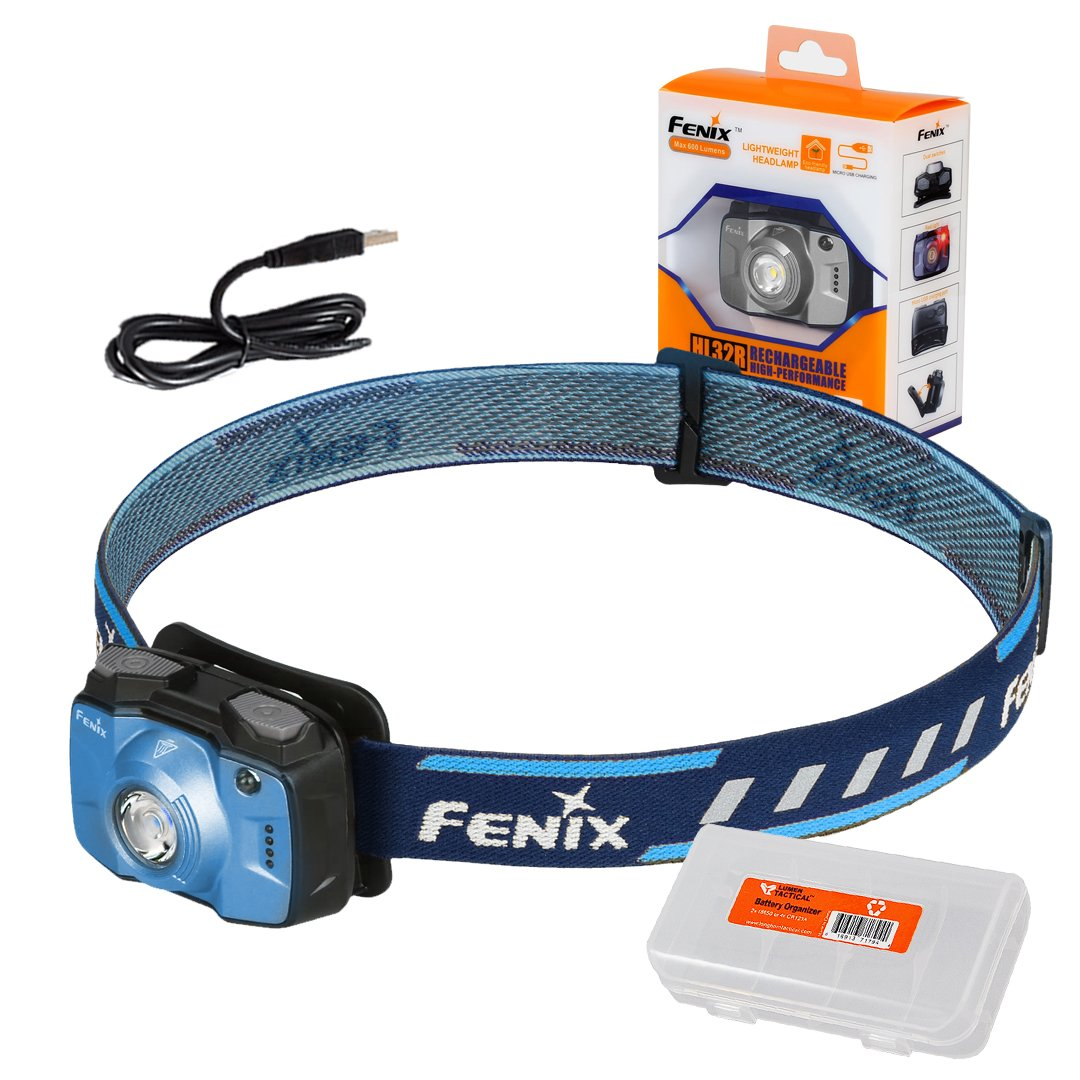 Fenix HL32R 600 Lumen w/Red LED USB Rechargeable High Capacity 2000mAh Headlamp with LumenTac Cable Organizer by Fenix