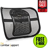 Go Lumbar Support   Extra Comfortable Adjustable Breathable Black Mesh Lumbar Back Cushion Support Fit All Types Office Chair Car Seat   Perfect Solution for Fatigue Back Pain Poor Posture Soreness
