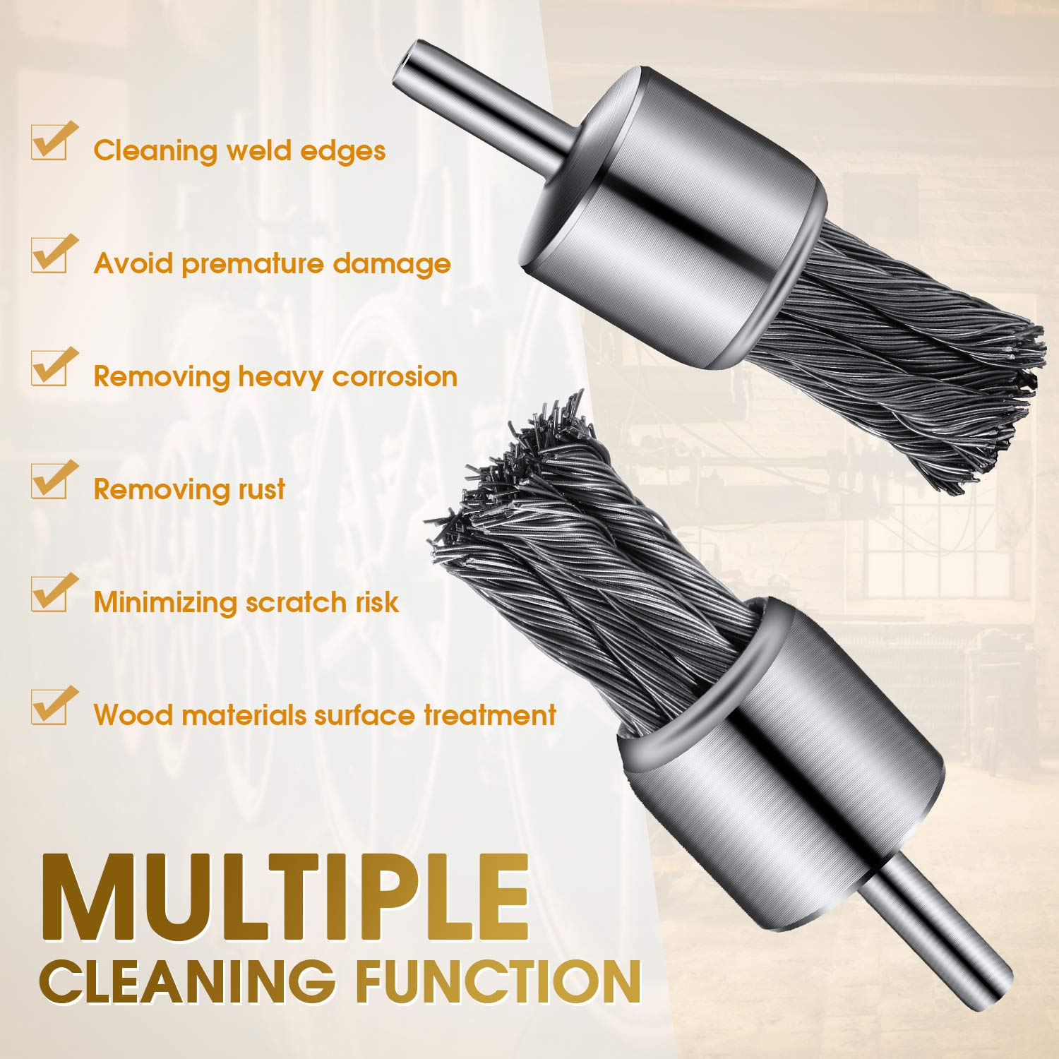 2 Pieces 1 Inch Wire Cup Brush Knotted Wire Brush Drill Bit Wire Brush Knot Drill Brush Accessories for Removal of Rust//Corrosion//Paint Cleaning