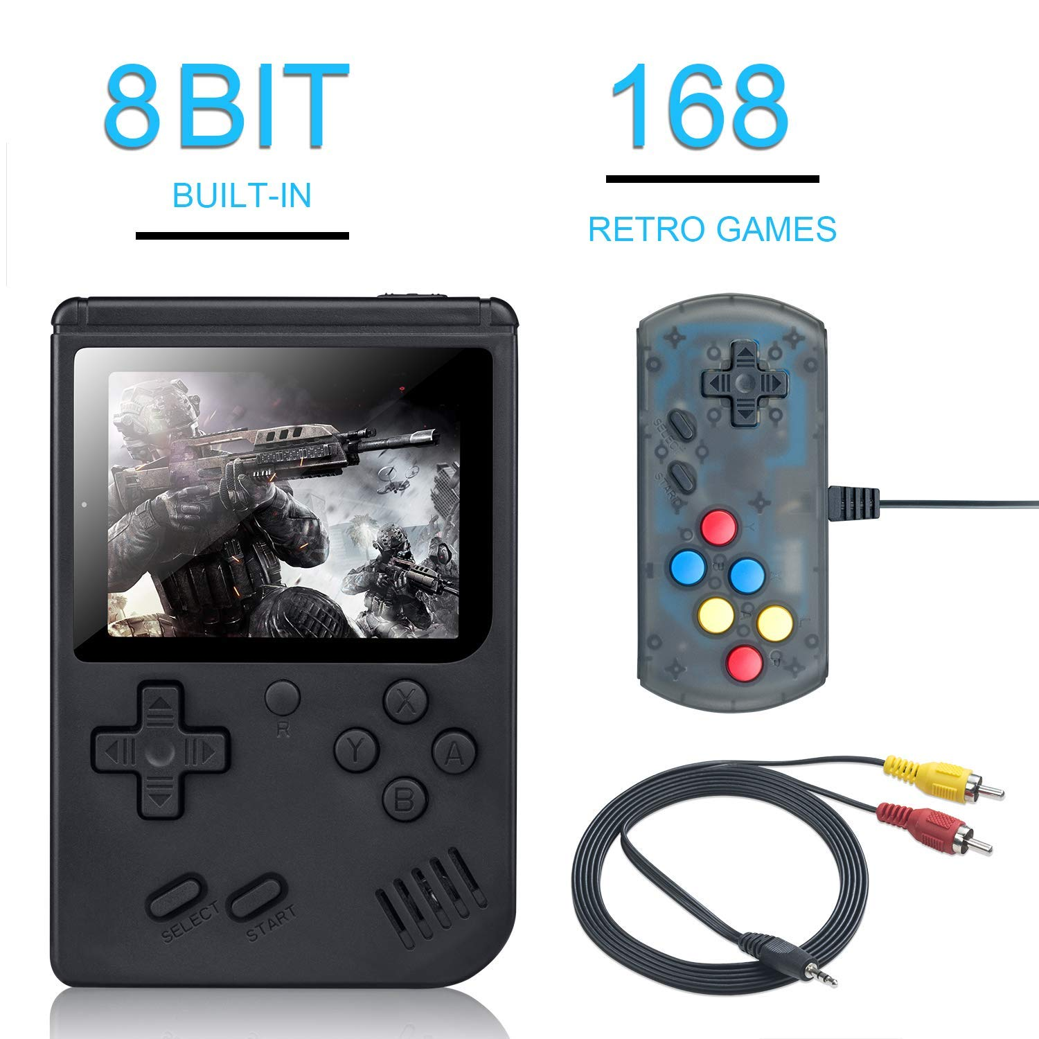 BAORUITENG Handheld Game Console, Retro FC Game Console,Video Game Console with 3 Inch 168 Classic Games (Plus) by BAORUITENG (Image #1)
