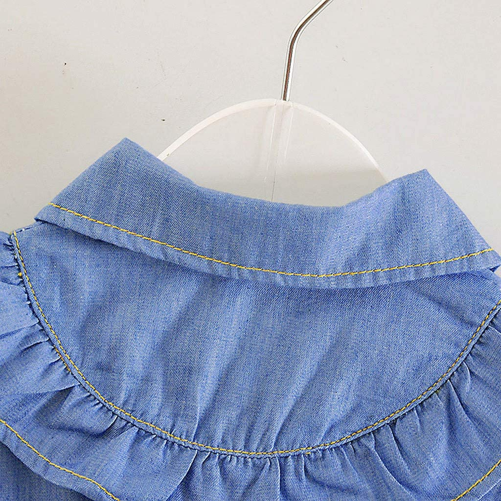 Denim Tutu Tulle Princess Dress for Toddler Infant Baby Girls Casual Birthday Party Outfits Cotton Short Sleeve Dress