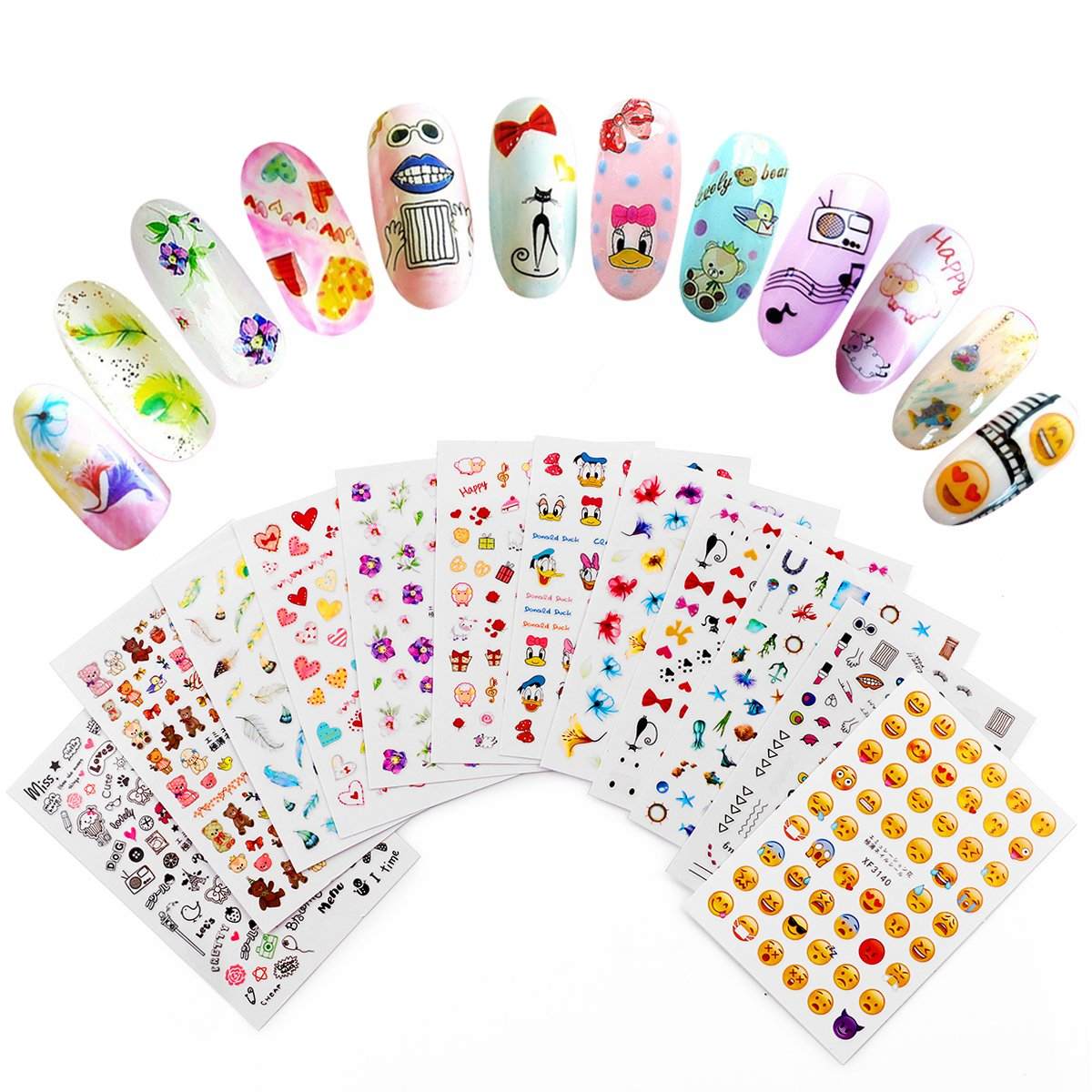 MAKARTT 3D Nail Art Stickers 12 Sheets Self-adhesive Nail Decals Tip Mix Color Flower Decal Decoration